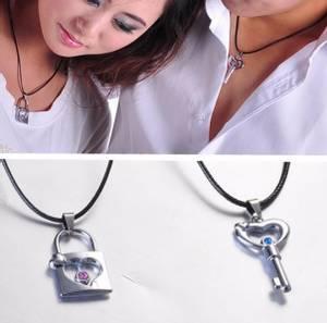 2x kjærlighets-smykker - nøkkel og lås